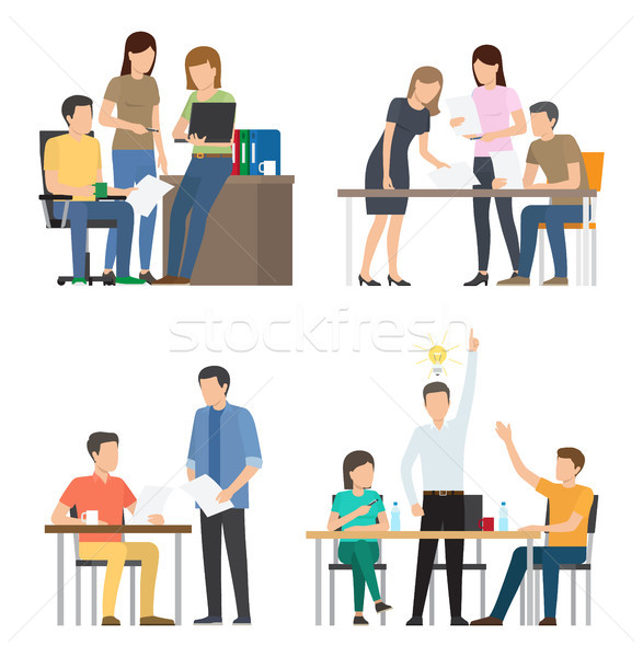 Teams Discuss Ideas for Startup at Office Set Stock photo © robuart