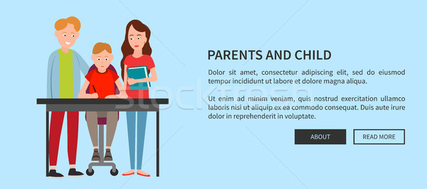 Rodziców dziecko internetowych plakat pomoc praca domowa Zdjęcia stock © robuart