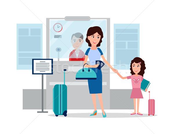 Paspoort controle punt moeder dochter luchthaven Stockfoto © robuart