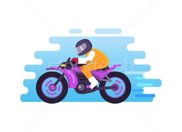 Racer Riding Motorbike Logo Isolated Blue Vector Stock photo © robuart
