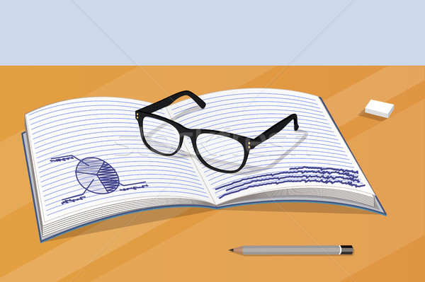 Glasses and Notebook with Data Vector Illustration Stock photo © robuart