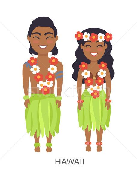 Hawaii erkek kadın görüntü çiçekler yaprakları Stok fotoğraf © robuart