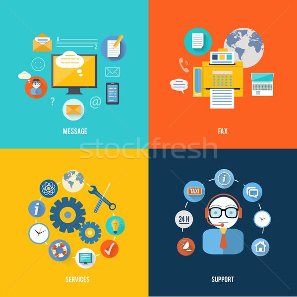 Un message fax réseau social soutien icônes services Photo stock © robuart