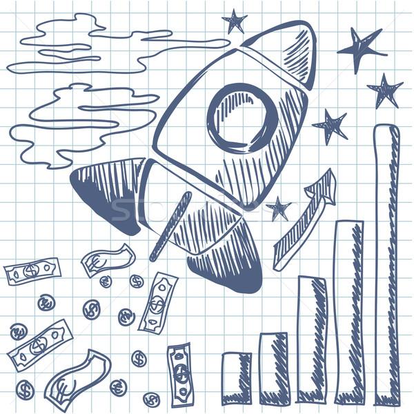Raket omhoog grafiek brandstof geld Stockfoto © robuart