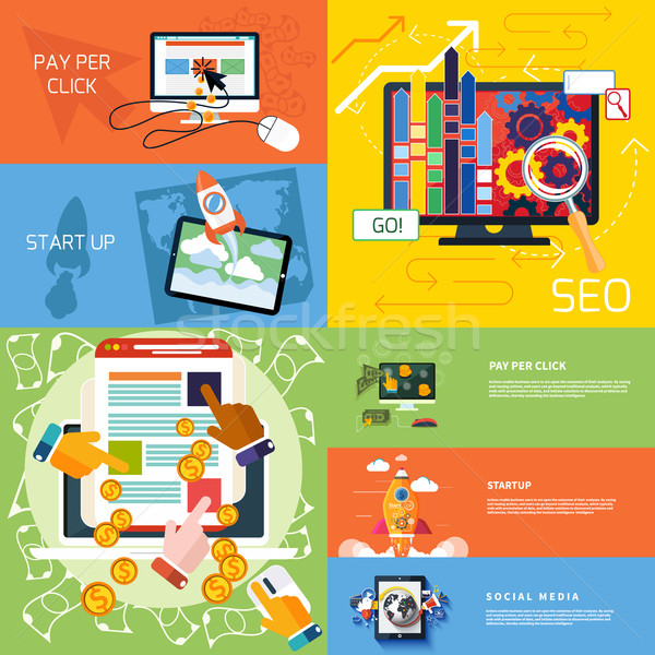 Concept of start up, pay per click, seo Stock photo © robuart