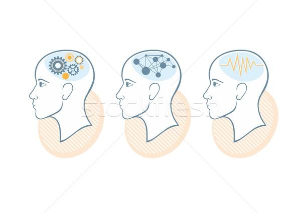 シルエット 頭 脳 プロセス 人間 思考 ストックフォト © robuart