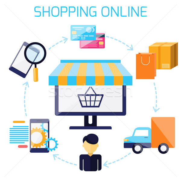 Infographic of sequence for online shopping Stock photo © robuart