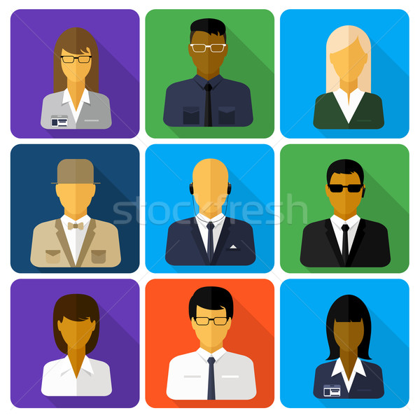 Business set of stylish avatars woman and man Stock photo © robuart