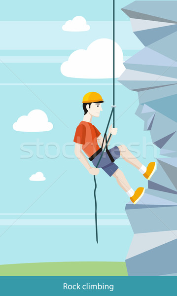 Man rotsklimmen omhoog klif touw Stockfoto © robuart