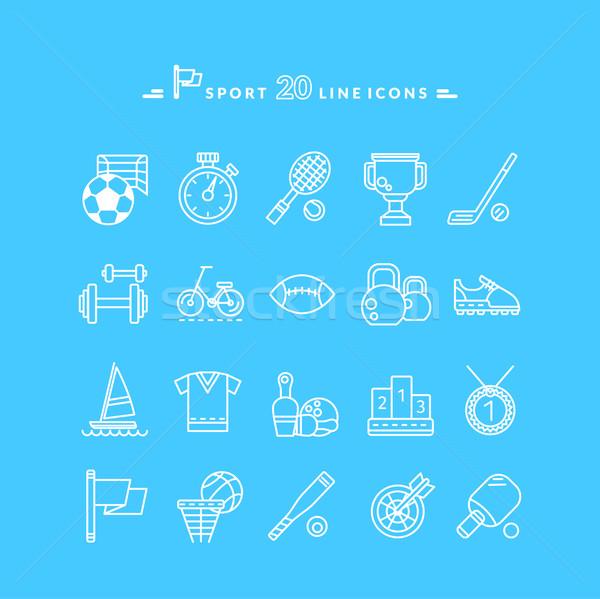 Foto stock: Conjunto · branco · ícones · esportes · equipamento · fino
