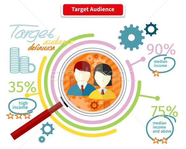 Icono estilo objetivo audiencia negocios comercialización Foto stock © robuart