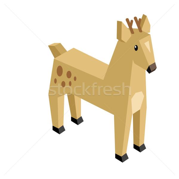 鹿 アイソメトリック 3D デザイン 野生動物 ストックフォト © robuart