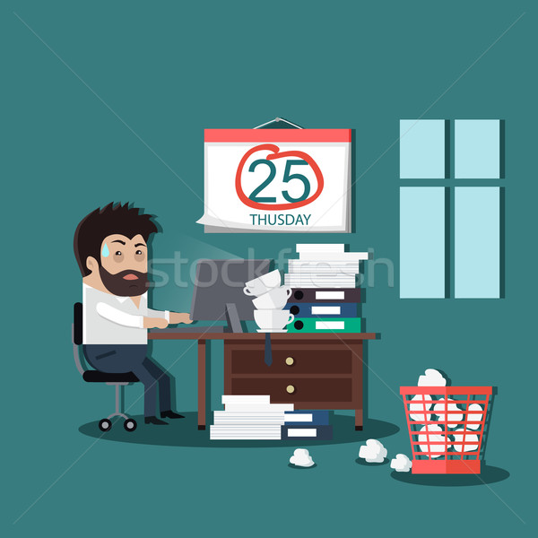 Deadline Design Concept Flat Interior Man Stock photo © robuart