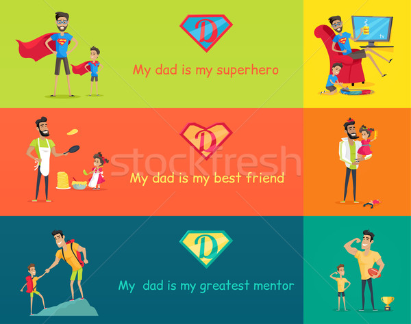 Super Dad with his Kids Stock photo © robuart