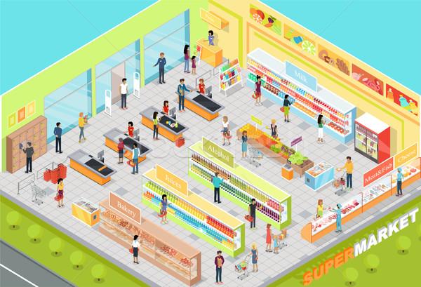 Supermarket Interior Isometric Projection Vector  Stock photo © robuart