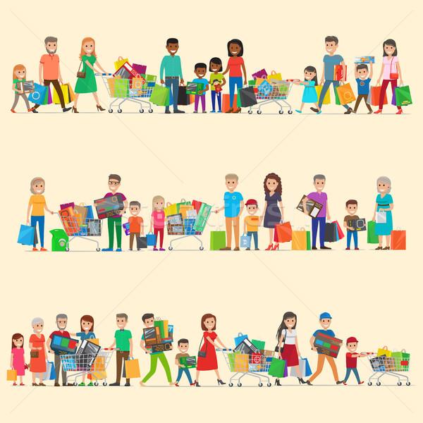Zdjęcia stock: Rodziny · supermarket · wektora · duży · wakacje