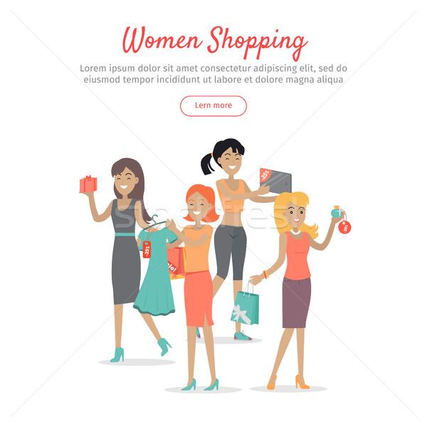 Woman Shopping Conceptual Flat Vector Web Banner Stock photo © robuart