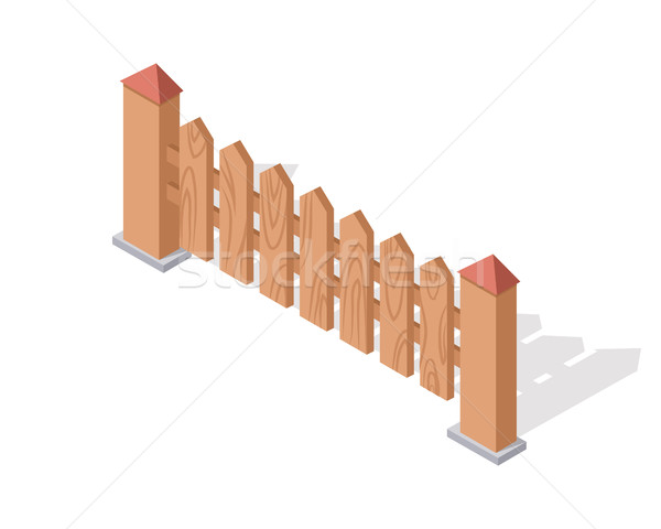 Wooden Fence Isolated on White with Columns. Stock photo © robuart