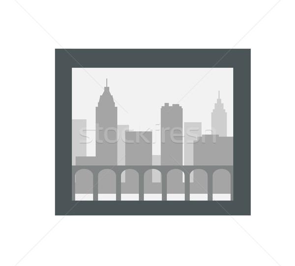 Stock fotó: Város · sziluett · sötét · keret · izolált · fehér