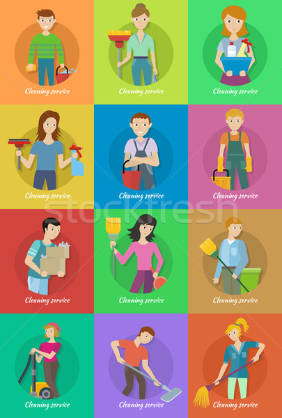 Collection of Member of the Cleaning Service Staff Stock photo © robuart