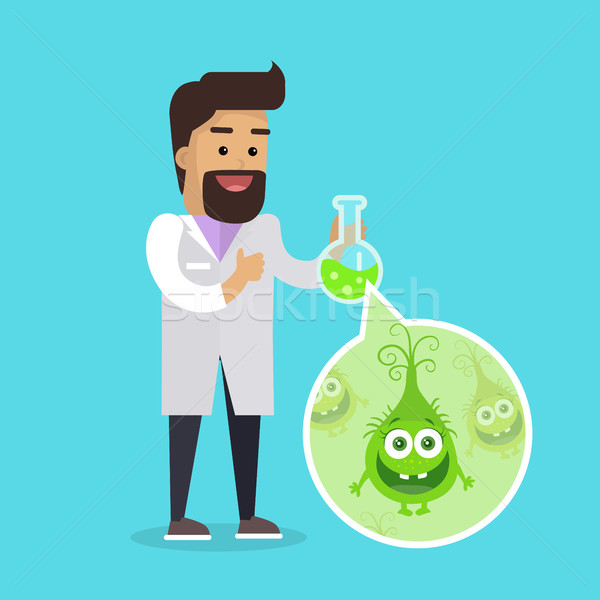 Bacteriologist with Bacteria in Glass Flask Vector Stock photo © robuart
