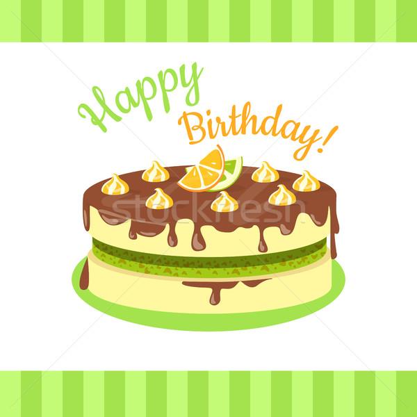 Gelukkige verjaardag cake citrus vruchten geïsoleerd citroenen Stockfoto © robuart