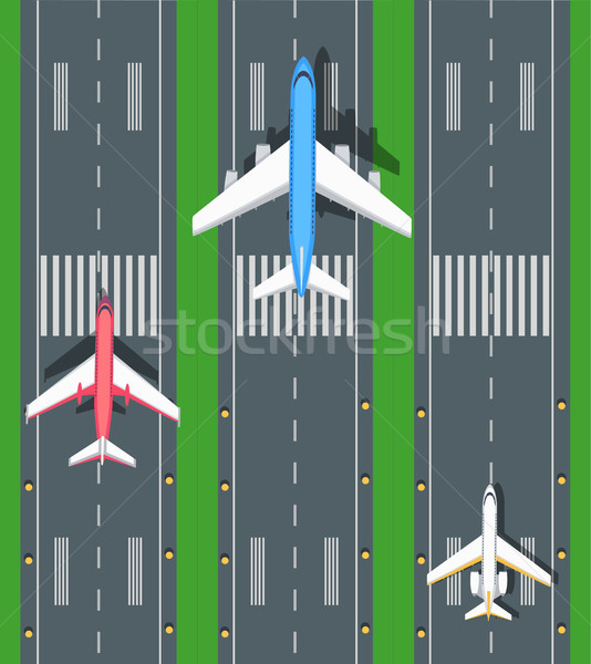 Set of Aviation Vector Airplanes on Runways Stock photo © robuart