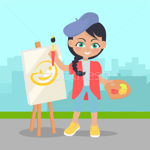 Girl Drawing on Easel on Landscape of Urban City Stock photo © robuart