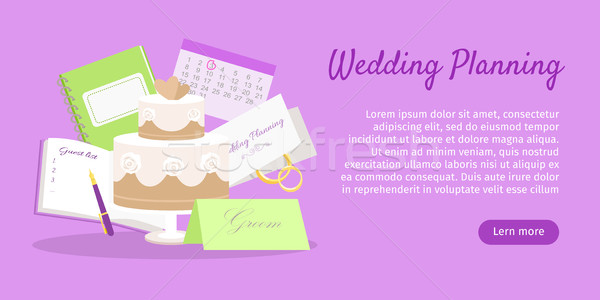 Wedding Planning Web Banner. Preparations. Vector Stock photo © robuart