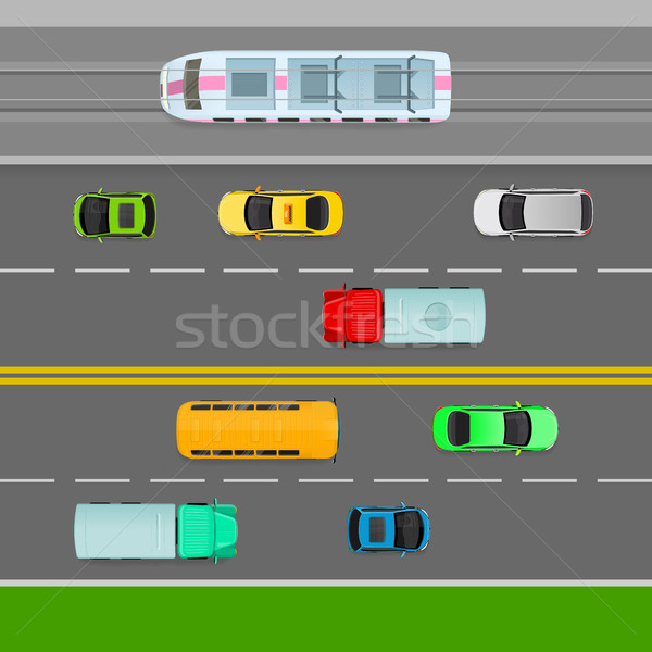 Traffic Flows on Left Side of Road. Two Way Lane. Stock photo © robuart