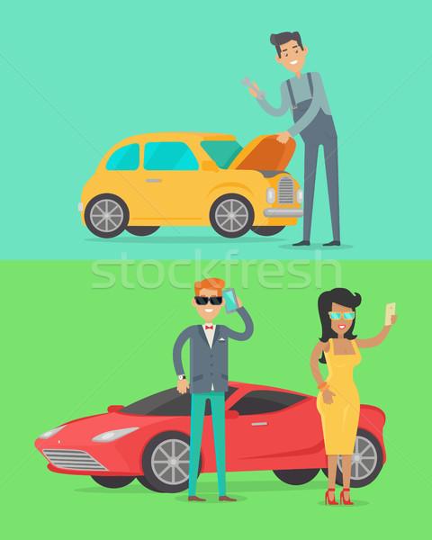 Man reparatie auto rijke mensen luxe Stockfoto © robuart