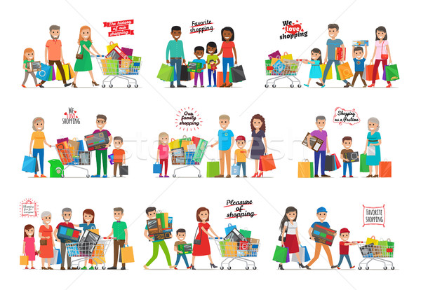 Collection of Icons with Happy Family Shopping Stock photo © robuart