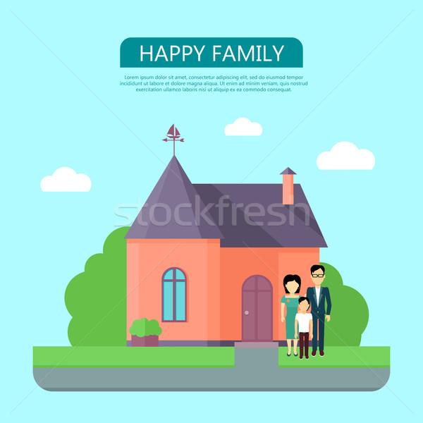 Famille heureuse rouge maison pourpre toit maison Photo stock © robuart