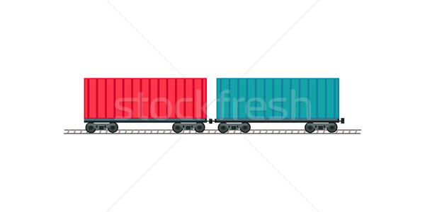 Train partout dans le monde entrepôt logistique contenant expédition Photo stock © robuart