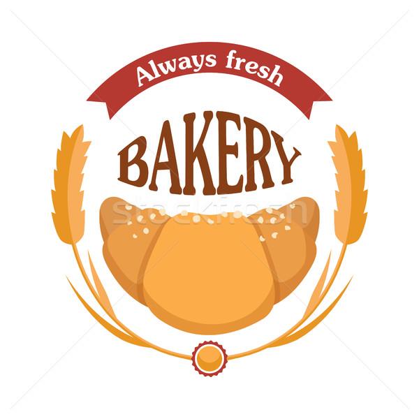 Toujours fraîches boulangerie croissant icône blé Photo stock © robuart