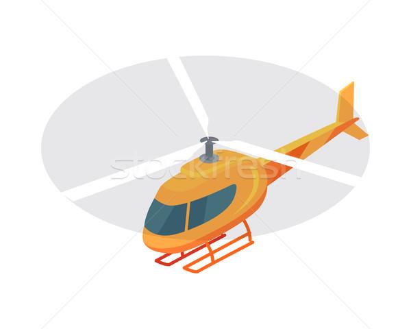 Helikopter vektor ikon izometrikus vetítés repülés ikon Stock fotó © robuart