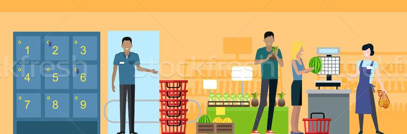 Stok fotoğraf: Süpermarket · çalışma · süreç · örnek · alışveriş · vektör