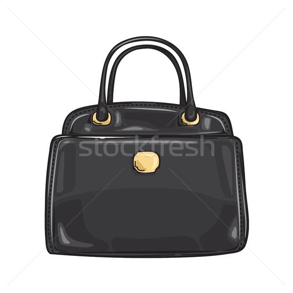 Black Lady s Bag Close-up Fashion Accessory Flat Stock photo © robuart