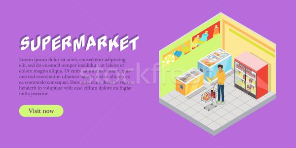 Supermarkt afdeling isometrische web banner projectie Stockfoto © robuart