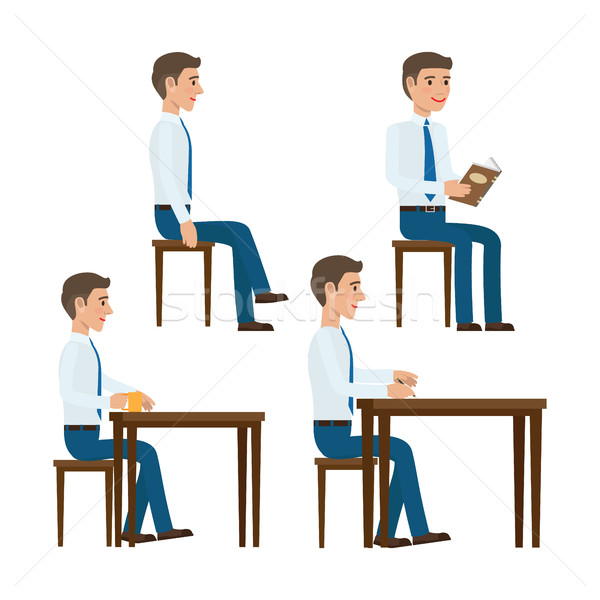 Seating Office Worker Vector Templates Set Stock photo © robuart