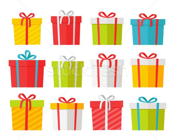 Colourful Christmas Boxes Set Isolated on White. Stock photo © robuart