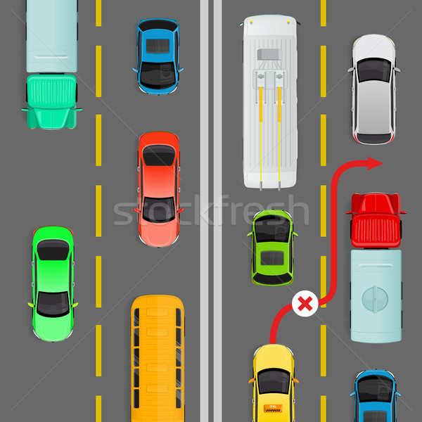 Overtaking in Dense Traffic Flow Vector Diagram Stock photo © robuart