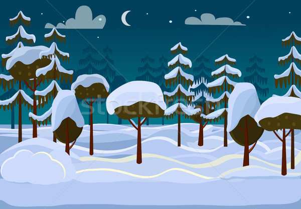 Forest. Evening. Different Trees Covered with Snow Stock photo © robuart