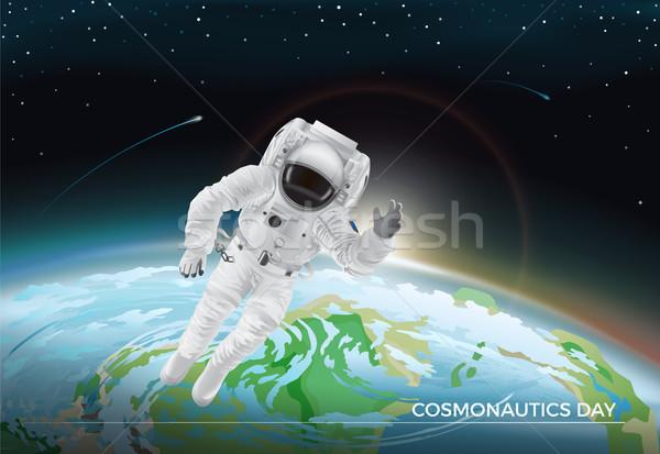 Feestelijk kaart dag grafisch ontwerp vliegen kosmonaut Stockfoto © robuart
