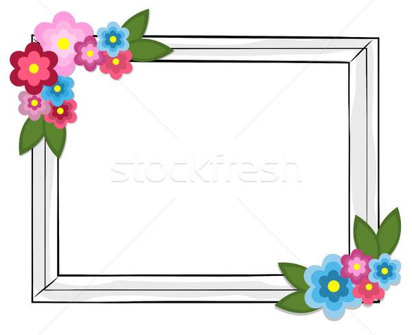 Rettangolare photo frame colorato fiori isolato bianco Foto d'archivio © robuart