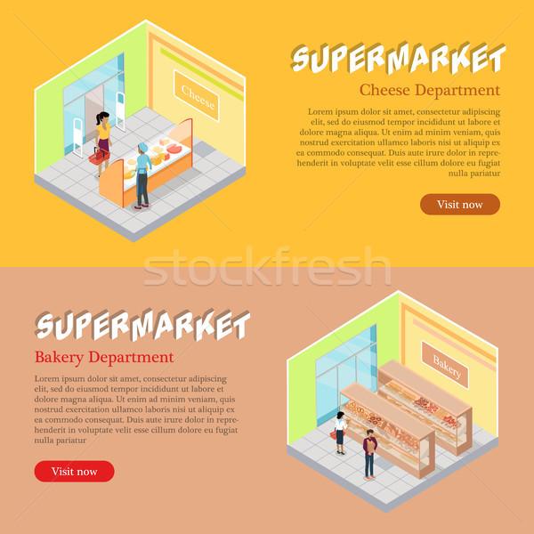Supermercado isométrica teia banners conjunto queijo Foto stock © robuart