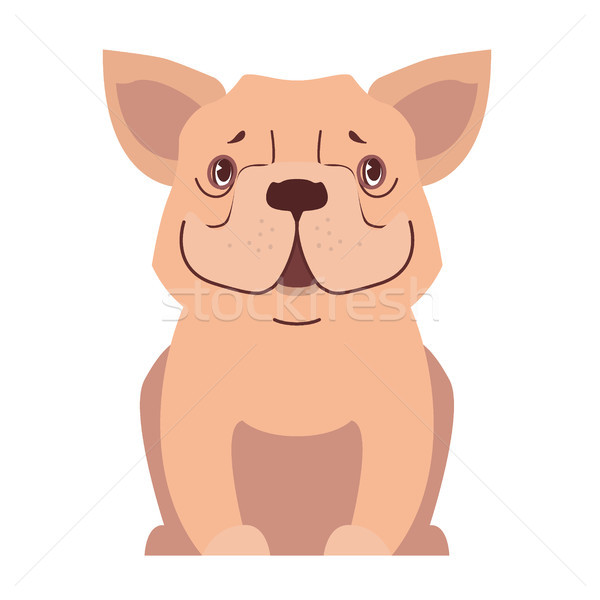 Cute small dog cartoon flat vector icon Stock photo © robuart