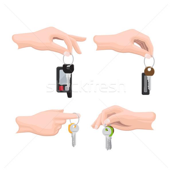 Claves mano humana vectores establecer colgante vector Foto stock © robuart