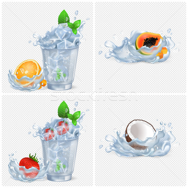 Cold Beverages with Fruits and lot of Ice Set Stock photo © robuart