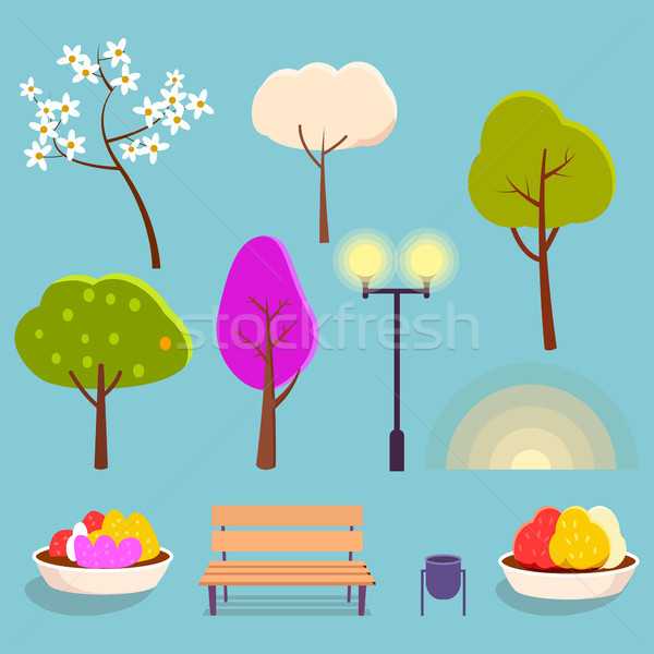 Spring Park Cartoon Isolated Elements Collection Stock photo © robuart